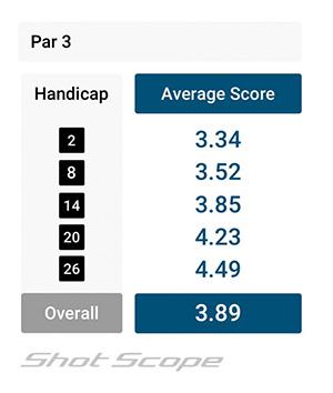Par 3 scoring average for amateur golfers by handicap
