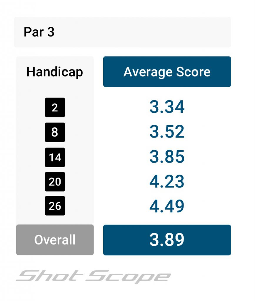 Par 3 scoring average for amateur golfers by handicap